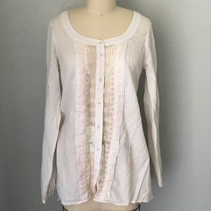 Free people lace Inlay long sleeve tunic top